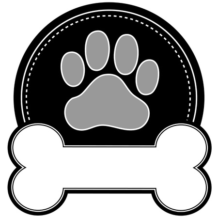 perro hueso: Una huella de perro y el hueso de perro con espacio para el texto en un dise�o circular