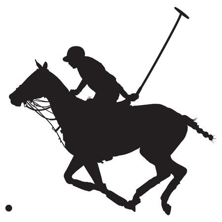 Zwart silhouet van een polospeler en paard Stock Illustratie