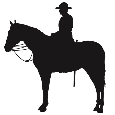 The silhouette of a Canadian Mounted Police officer