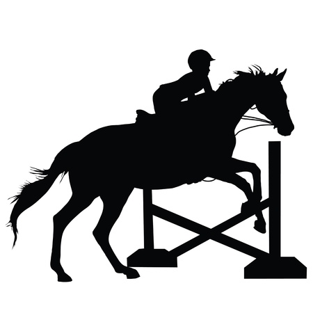 Silhouette of a child or young adult jumping a horse  Vectores