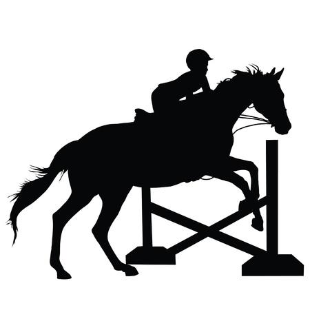 caballo saltando: Silueta de un niño o adulto joven que salta un caballo