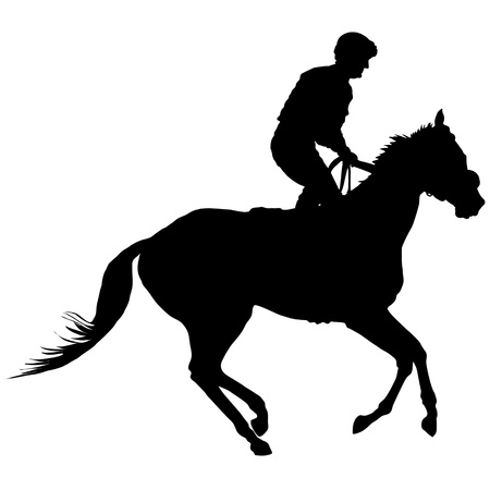 Silhouette of a jockey exercising his horse