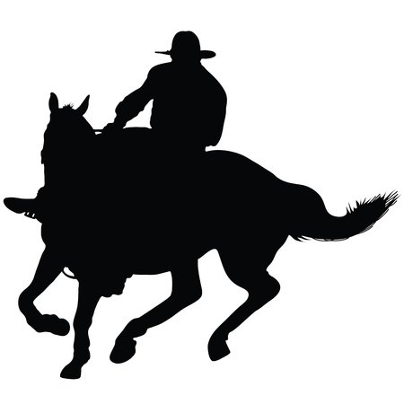 Silhouette of a lone rider wearing a rancher's hat  イラスト・ベクター素材