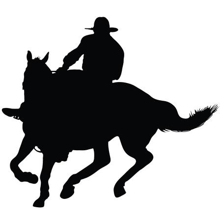 rancheros: Silueta de un jinete solitario lleva el sombrero de un ganadero Vectores