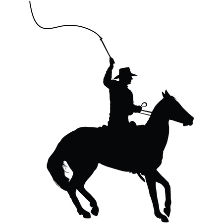 Silhouette of a horseman cracking a whip  Vector