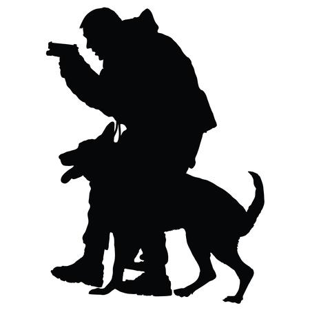 犬歯: 銃および彼の犬パートナーと警察官のシルエット