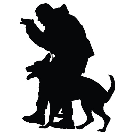 Silhouette of a police officer with a gun and his dog partner