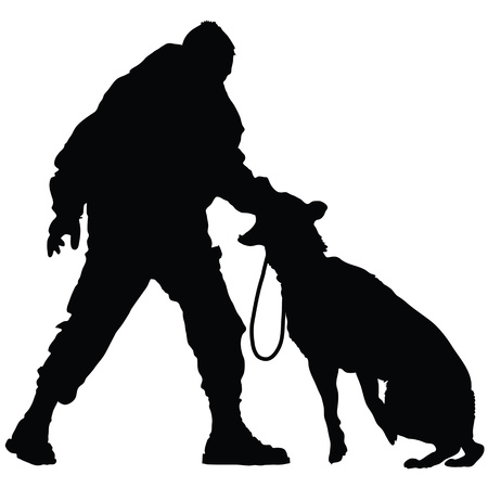 Silhouette of a police officer training with his dog partner  Vectores