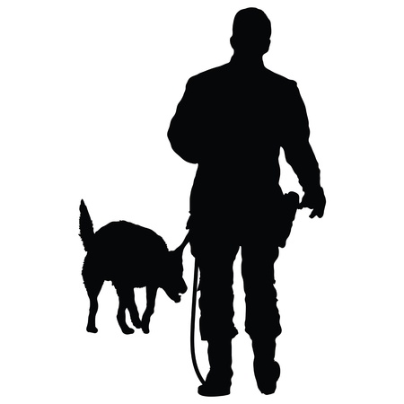 Silhouette of a police officer training with his dog partner  Vector