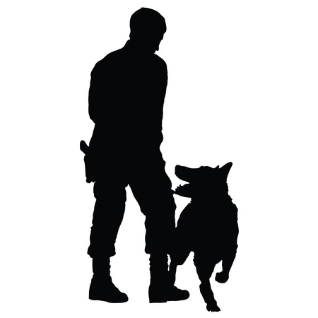 Silhouette of a police officer training with his dog partner  Ilustrace