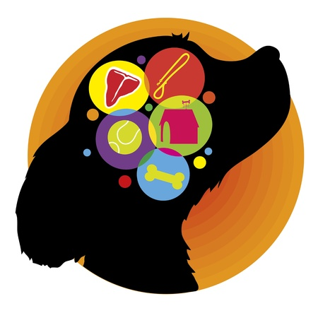A silhouette of a dogs head with icons representing the things he may be thinking
