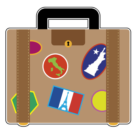 A suitcase covered in stickers from France, Italy and the United States Vector