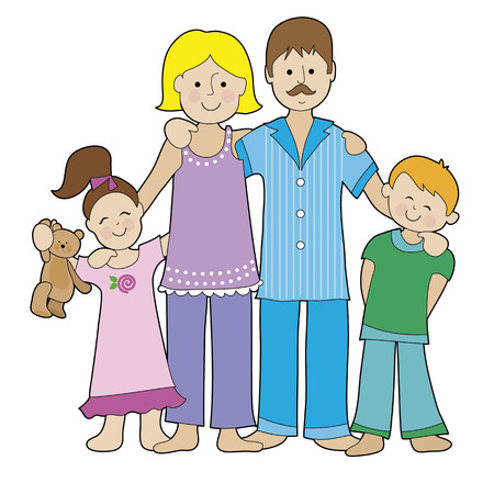 A family of four is dressed in their pajamas. There is a boy and a girl, a Mom and a Dad