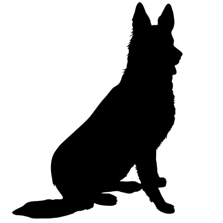 dog sitting: Black silhouette of a sitting German Shepherd