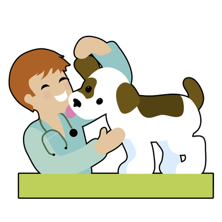 A male vet is checking a puppy's ear and gettng a kiss from the puppy - both are very happy
