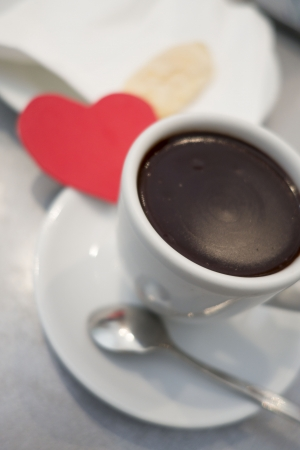 TRaditional hot choclate drink of Spain called Xocolata - very thick and tasty Foto de archivo