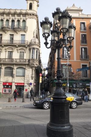 lamp post: A lampost on La Rambla - a main street in Barcelona