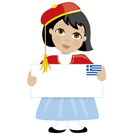 A young girl dressed in a traditional Greek costume is holding a blank sign with a Greek flag in the top right hand corner. Text can be added to suit a project