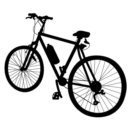 Black silhouette of a bicycle with a water bottle attached to it Illustration