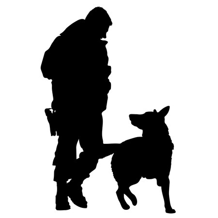 Silhouette of a police officer training with his dog partner  Vettoriali