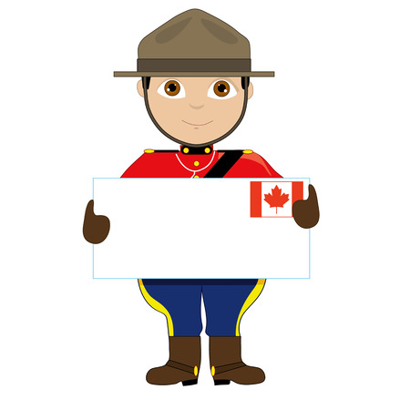 A young boy or man is dressed in a Canadian Mountie uniform and is holding a sign with a Canadian flag