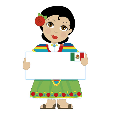 A little girl is dressed in a traditional Mexican costume and holding a sign  with the Mexican flag in the upper right hand corner