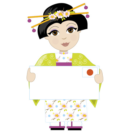 A little girl is dressed in a traditional Japanese costume and holding a sign with the Japanese flag in the upper right hand corner