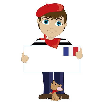 A little boy is dressed in a traditional French costume and holding a sign with the French flag in the upper right hand corner Vectores
