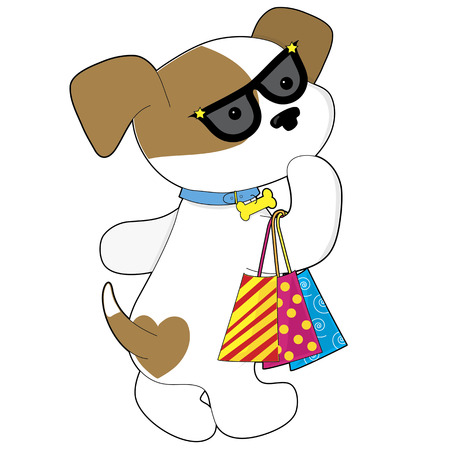A cute brown and white female dog wearing sunglasses and carrying three shopping bags