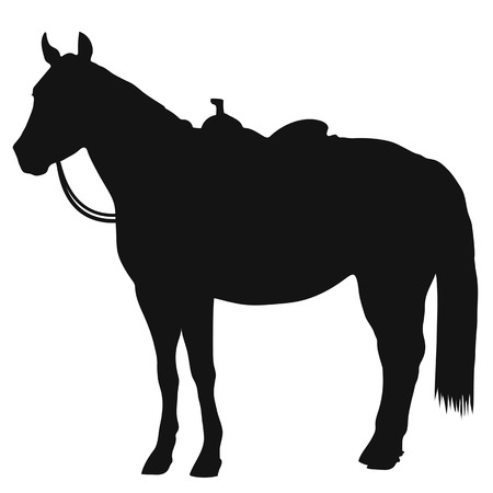 A black silhouette of a standing horse wearing a western saddle