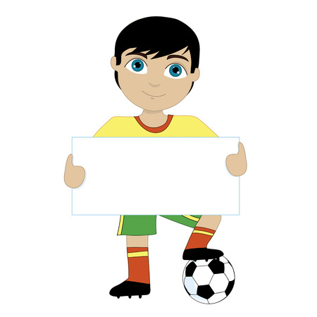 A young boy holding a sign and with one foot on a soccer ball.  Change the colors to suit your team