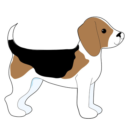 A cartoon drawing of a cute little Beagle puppy Vectores