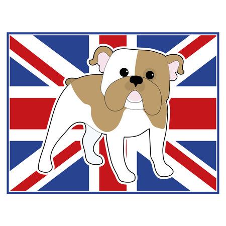 british bulldog: A cartoon illustration of an English Bulldog with a British flag in the background Illustration