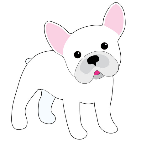A cartoon illustration of a little white French Bulldog  Vectores