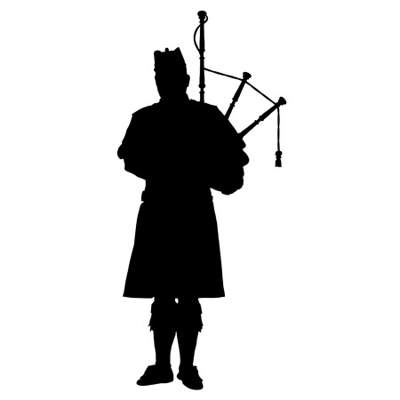A black silhouette of a Scottish piper playing the bagpipes Illustration