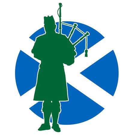 スコティッシュ パイパー バグパイプを演奏のシルエット。バック グラウンドでは、スコットランドの旗