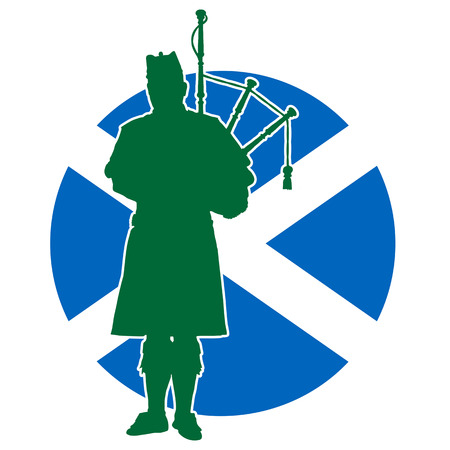 A silhouette of a Scottish piper playing the bagpipes. The Scottish flag is in the background