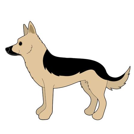 A cartoon illustration of a German Shepherd