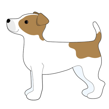 A cartoon illustration of a Jack Russell Terrier
