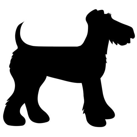 A cartoon black silhouette of an Airedale Terrier Foto de archivo