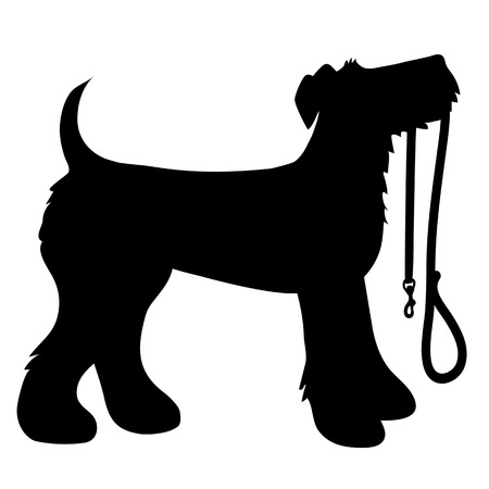 A cartoon black silhouette of an Airedale Terrier with a leash in its mouth