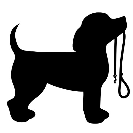 A cartoon black silhouette of a Beagle with a leash in its mouth