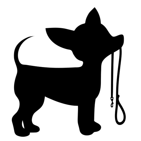 A cartoon black silhouette of a Chihuahua with a leash in its mouth 写真素材