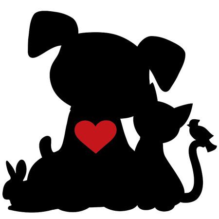 Een silhouet van een groep van huisdieren zoals een hond, kat, konijn en vogel. Er is een rood hart op de honden borst