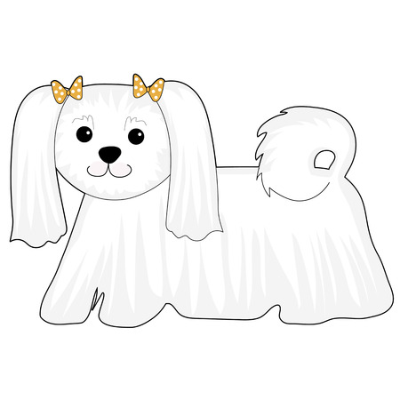 A cartoon of a Maltese dog with bows in her hair