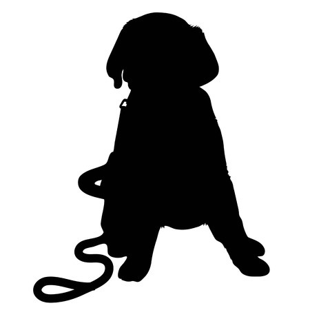 dog leash: A black silhouette of a Labrador Retriever puppy with a leash by its side