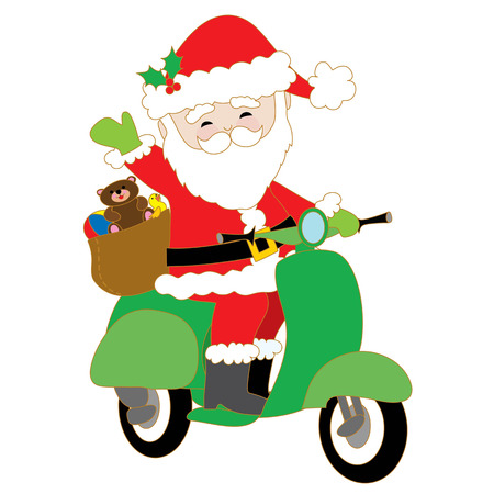 Santa Claus is riding a green scooter with a bag of toys on the back