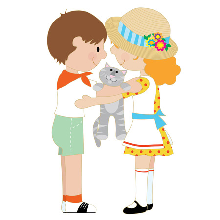 A pair of children, one boy and one girl, are hugging and holding a grey cat Vectores