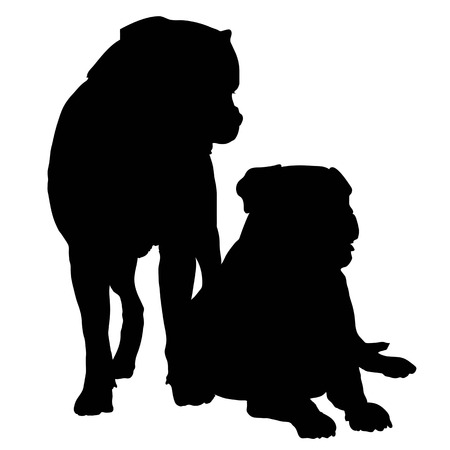 Silhouette of a pair of large dogs such as a Rotweiller, Bull Mastif or Bulldog