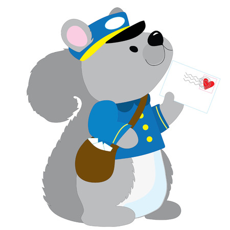 A cute little squirrel dressed like a postman is delivering a letter with a heart stamp